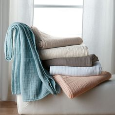 Gossamer Cotton Blanket - woven in three gauzy layers of airy softness.