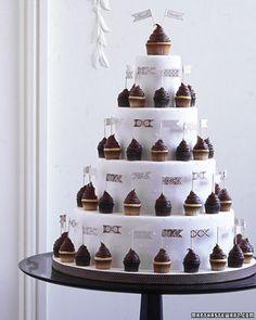 Mini Cupcake Cake, Martha Stewart Weddings, Wedding Cake, White and Brown