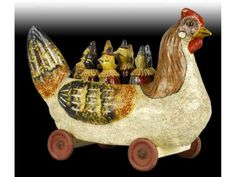 German Paper Mache Chicken Antique Toy Skittles Set