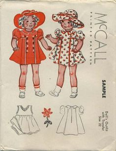 Vintage Doll Clothes Sewing Pattern | Dress and Hat | McCall Sample Pattern | Year 1937 | Size 22""