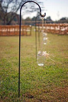 Set of 8 Hanging Mason Jars - Rustic Wedding Decor - Shabby Chic Wedding - Wedding Isle Decorations. $32.00, via Etsy.