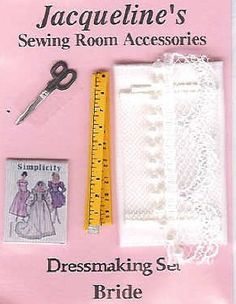 DOLLHOUSE MINIATURE BRIDE WEDDING DRESS PATTERN SEWING  -- For Centerpiece Collection