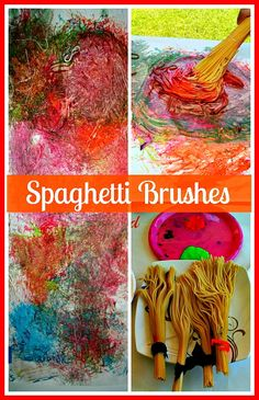 What a great idea! Sensory painting with spaghetti brushes. The kids have the choice to get messy or not. So fun to paint the unconventional way.