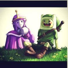 Princess Bubblegum and Finn as Zelda and Link