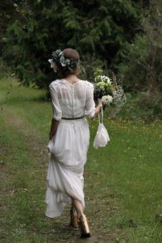 Sophia gardiner (Frida and Fauna) in her Vintage embroidered silk crepe Wedding Dress