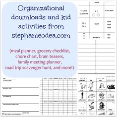 FREE organizing downloads: meal plan, grocery checklist, time management worksheet, family meeting template, and a kid scavenger hunt