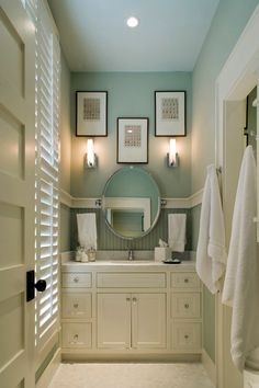 You can really tell when Ben Moore paints are used. Here is Palladian Blue and/or Wythe Blue. From their Historical Colors palette. In my beach house. - love these colors for a bathroom