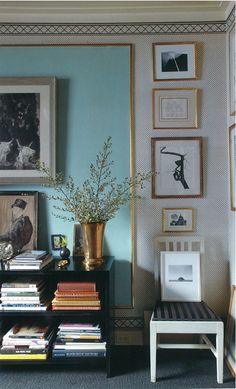 """Fabulous way to create a color field in a room...""""frame"""" a portion of the wall, this a gorgeous Tiffany blue with a gold moulding, then surround it with groupings of art or a graphic paper....design by the fabulous Albert Hadley. Could be great in a spare room or master closet. wall colors, interior, living rooms, frame, blue walls, albert hadley, art, gallery walls, blues"""