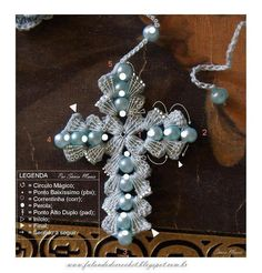 crochet cross with pearl beads