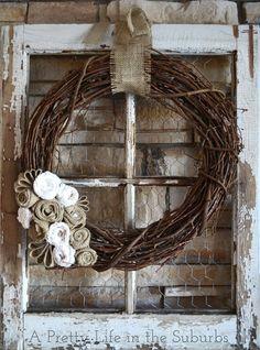 old window frames, burlap wreaths, craft, burlap flowers, chicken wire