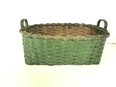 Antique 2 Handle Herb Basket in Old Green Over Red Paint.