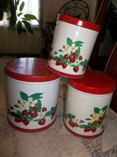 Vintage metal kitchen canister set.