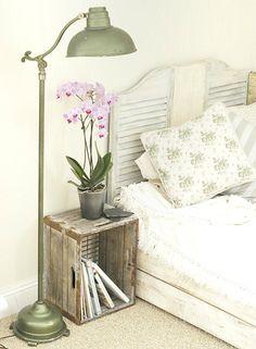 <3 floor lamps, diy wooden headboard, decor, window shutters, wine crates, wooden crates, old crates, wood crates, bedroom