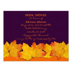 #fall themed shower for the bride invitations in dark purple and bright orange #leaves