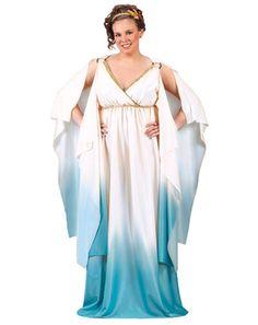 Plus Greek Goddess White & Blue Costume