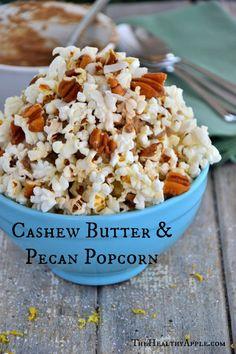 Cashew Butter n' Pecan Popcorn | TheHealthyApple.com | #glutenfree #vegan #dairyfree #healthy #snacks #popcorn