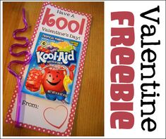 Free printable.  Attach a package of Kool Aid and a squiggle straw for a unique Valentine exchange card!