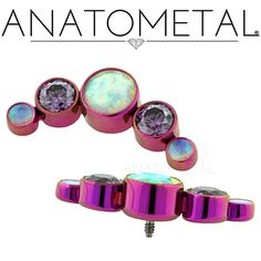 Threaded Gem Clusters in ASTM F-136 titanium, anodized fuchsia with synthetic Faceted Opal and synthetic Amethyst gems