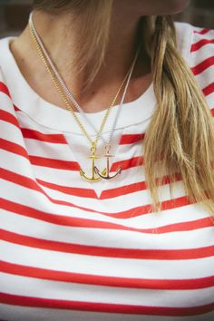 Anchor Necklace + Striped Shirt - so cute for summer!