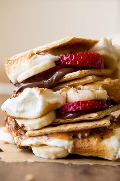 Strawberry and banana S'mores. How good would these be with homemade strawberry-banana marshmallows?