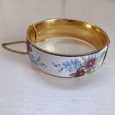 Vintage floral enamel bracelet or bangle hinged by trendybindi