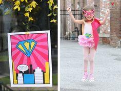 vintage super girl super hero party printables