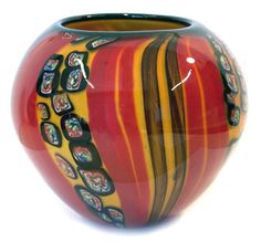 Murano art glass Vase bowl Stripes Millefio