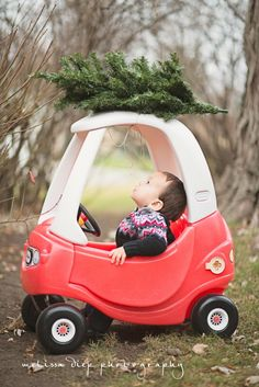 cute funny unique toddler baby holiday christmas photos little tikes car