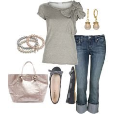 Outfit.......looks sooooo comfortable. fashion, style, tee shirts, closet, safety pins, big bows, shoe, spring outfits, polyvore casual comfortable