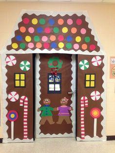 Classroom Door Decorations | Winter classroom door decoration -gingerbread house | Christmas door decs, holiday, the doors, christmas door decorations, classroom door, decorating ideas, christmas decorations, house doors, gingerbread houses