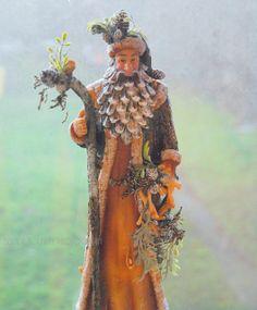 Santa with pine cone beard.
