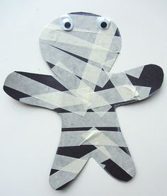 mummy craft for young kids ~ masking tape mummy Halloween craft