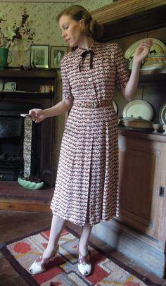 1930/40s Print Dress