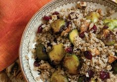 warm salad, brussel sprout, brussels sprouts, food, walnut, eat, recip, cranberries, millet