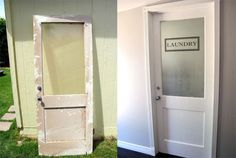 Before & After - Not Furniture...but a fabulous makeover of an old salvaged door...hung and beautiful!