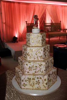 Gold wedding cake. #celebstylewed #weddings #nuptials #matrimony