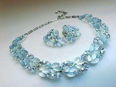 Vintage Designer Lisner Estate Costume Rhinestone Necklace and Clip on Earrings | eBay