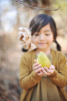Girl with pear. Indescribable. Beautiful.