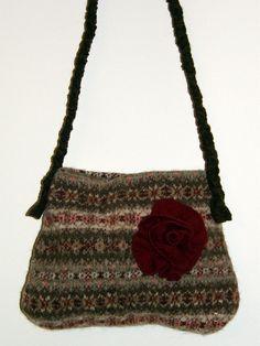 Chocolate Brown Burgundy felted purse  , shoulder bag