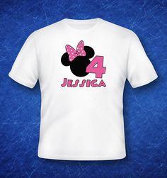 Iron on Minnie mouse birthday custom T-shirt design Disney's Disney minnie vacation shirt boy name age diy disneyland disneyworld Printable