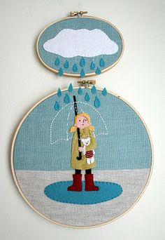 clouds, wall art, craft, umbrella, stitch, embroidery hoops, rain, felt art, embroideri