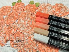 Calypso Coral and Blush Blendabilities markers colored on the Corner Garden background stamp from Stampin' Up! thank you card by Patty Bennett #stampinup #cornergarden #blendabilities #pattystamps