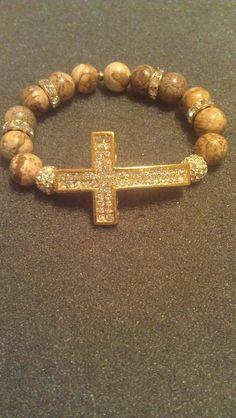 Sideways cross bracelet by beckinize on Etsy, $24.00. Amazing bracelets customized anyway