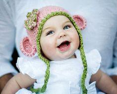 Baby Hats Monkey hat Crochet Baby Hats Girl Hats by citefuzzhats