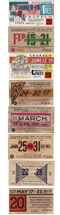 Bus ticket collection from the 1930s.