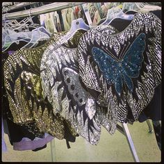 Thrifting sequined butterfly disco tops