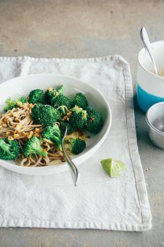 simple, salty, sweet + nutty broccoli soba