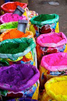 Sacks of Colors - Market in Jaipur, Rajasthan - India.