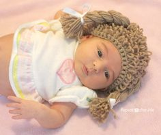 Scroll down for how to instructions and video tutorial to make this cabbage patch crocheted hat-Repeat Crafter Me