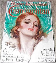 $76 from 1928-Art Deco Lady Cover Art, COMPLETE ISSUE OF COSMOPOLITAN MAGAZINE FOR DECEMBER 1928. COVER BY HARRISON FISHER, AND AN ADDITIONAL FULL PAGE ILLUS. BY FISHER INSIDE. FINE COND.